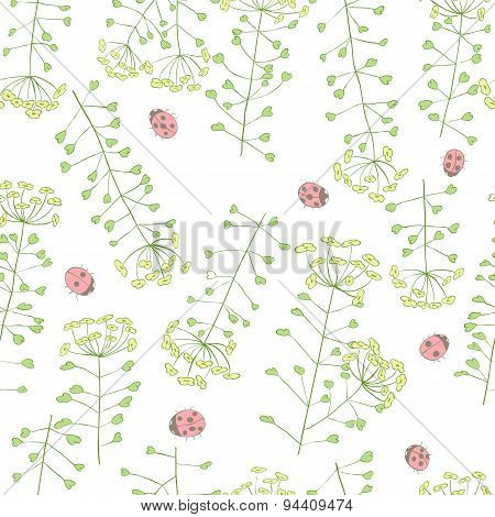 ladybug and cute flowers seamless vector pattern
