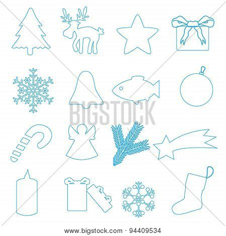 Simple Blue Outline Merry Christmas Icons Eps10