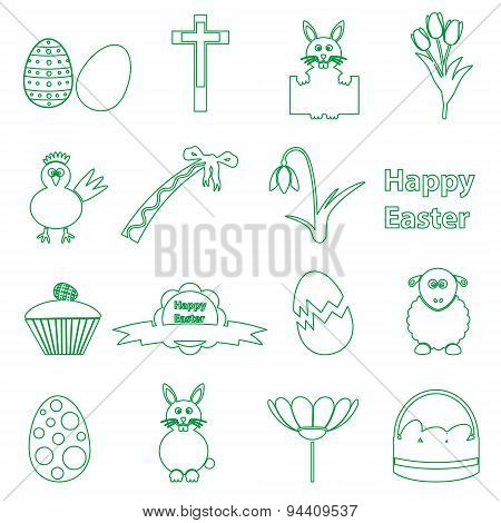 Various Simple Outline Easter Icons Set Eps10