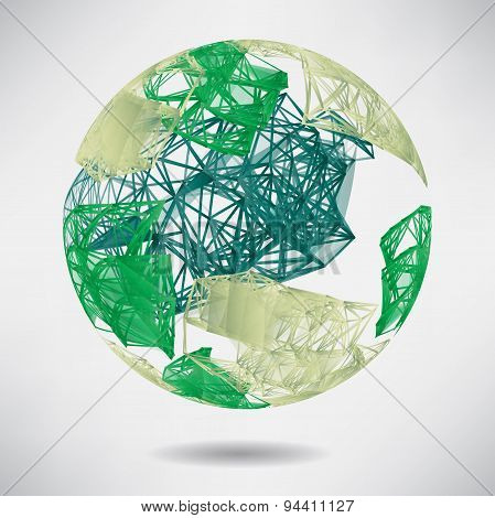 Abstract Background With Green Sphere On Theme Digital Technolog
