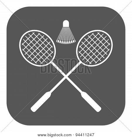 The Badminton Icon. Sport Symbol. Flat
