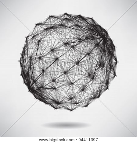 Abstract Background With Black Sphere On Theme Digital Technolog