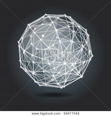 Abstract Background With White Sphere On Theme Digital Technolog