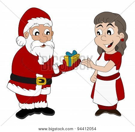 Cartoon Of Santa Claus And Mrs. Claus