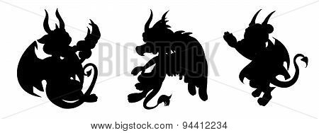 Dragon Cartoon Silhouettes