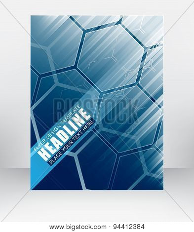 Business Flyer Template, Cover Design Or Brochure With Hexagonal Pattern And Diagonal Lines