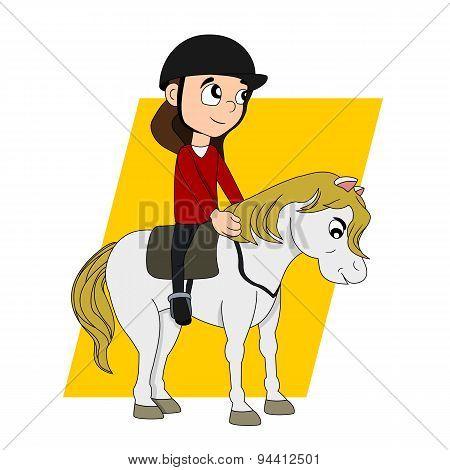Horseback Riding Child Cartoon