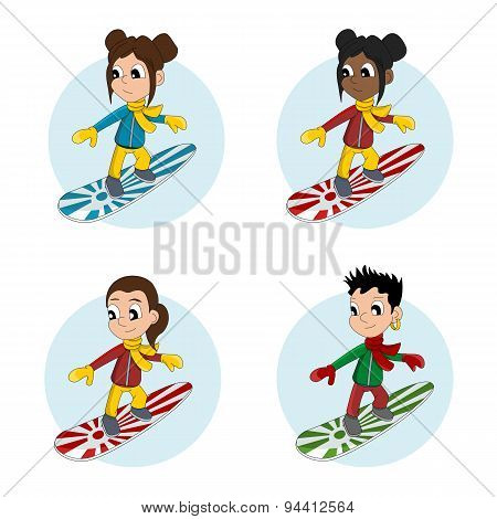 Snowboarder Girls Cartoon