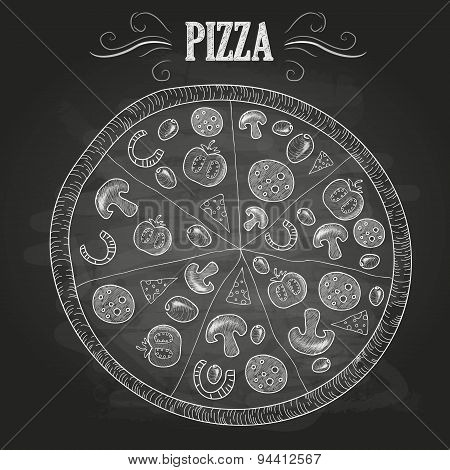 Chalk Drawings. Pizza