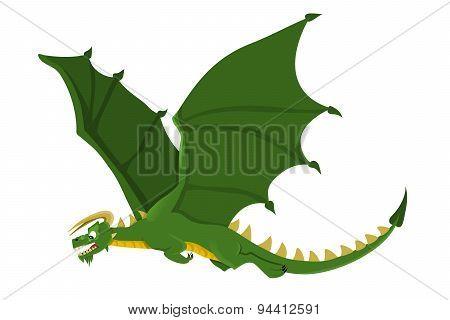 Flying Green Dragon Cartoon
