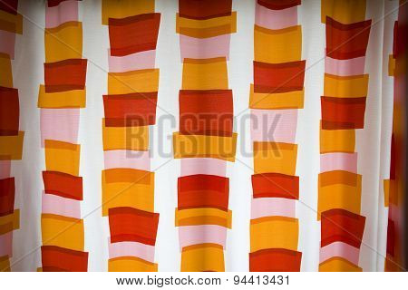 Color Curtain With Blinds On A Sunny Day