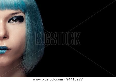 Girl With Blue Hair And Lipstick Isolated On Black Background