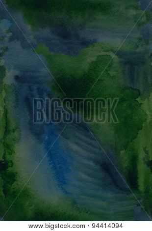 Green Watercolor Stroke Abstract Seamless Paper Bright Background