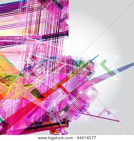 Abstract Background. Vector-Messy colorful lines