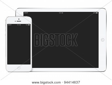 Mockup Of White Tablet Computer In Landscape Orientation And Smartphone In Portrait Orientation