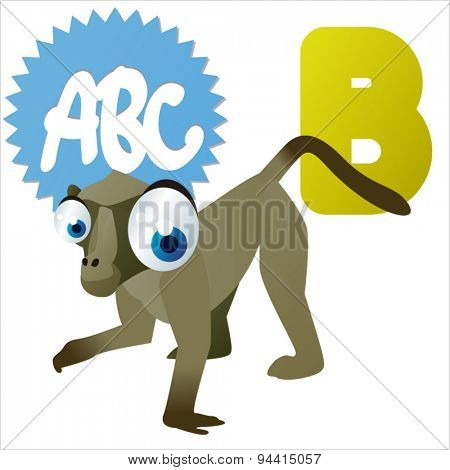 animal children alphabet: B is for Baboon