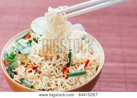 Noodle With Pepers Spice In Bowl Asia Culture Food