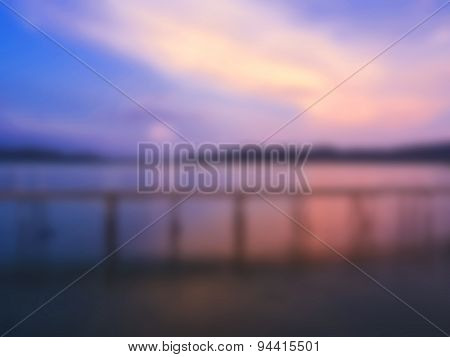 Blurred Pier Landscape Sunset at the Beach