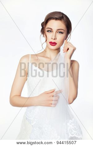 Beautiful Bride In Wedding White Dress.