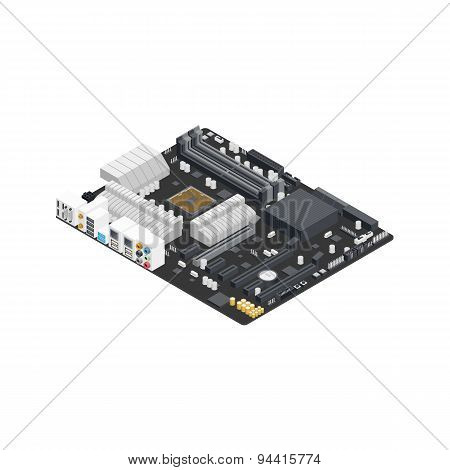 Motherboard Isometric Detailed Icon