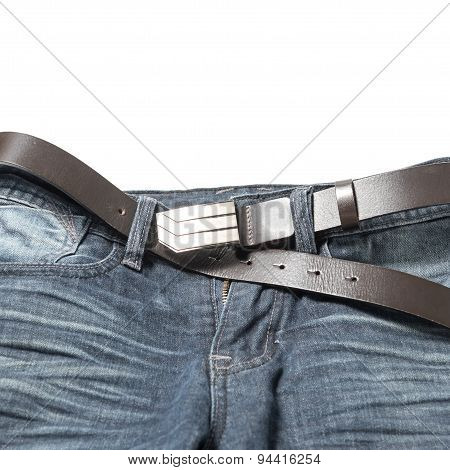 Jean Pant With Leather Belt