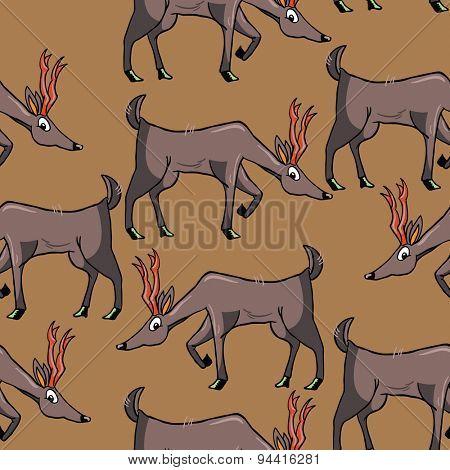 deer cartoon illustration seamless pattern