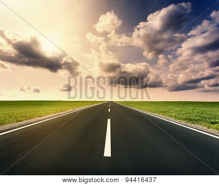Driving On Open Asphalt Road At Idyllic Sunny Day