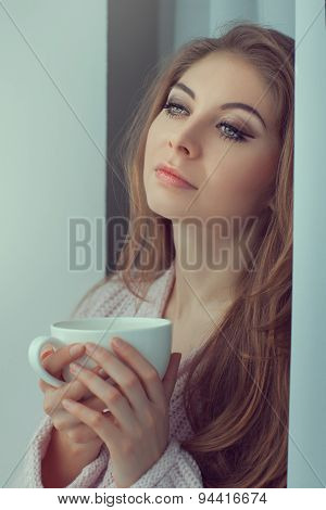 Lovely Girl With A Cup In His Hands.