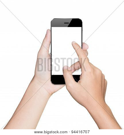 Closeup Hand Using Smartphone White Mobile Clipping Path Inside