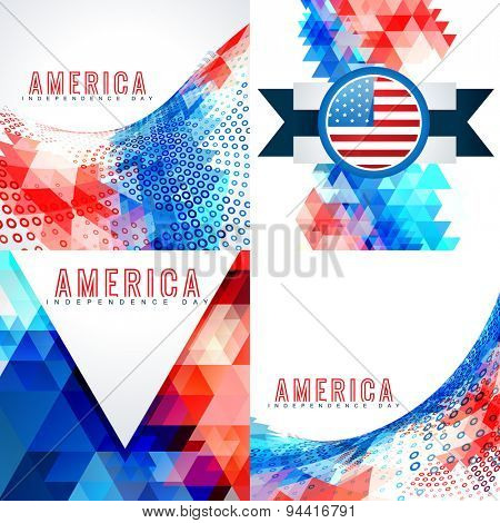 vector set of 4th july american independence day background illustration with creative pattern