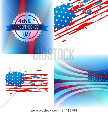 vector set of abstract background of american independence day illustration