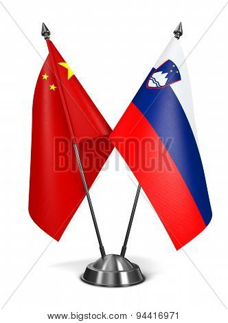 China and Slovenia - Miniature Flags.