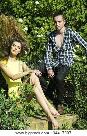 Sexual Boy And Girl In Garden