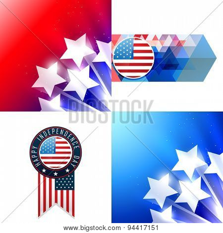 vector creative set of american flag design of 4thjuly independence day background