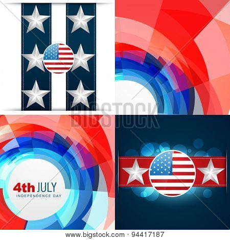 vector set of 4th july american independence day background abstract illustration