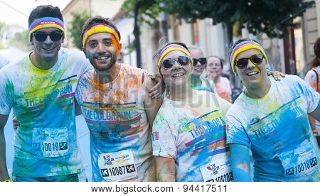 CLUJ-NAPOCA, ROMANIA - JUNY 13, 2015 : Unidentified people at the Cluj-Napoca Color Run on Juny13, 2015. The Color Run is a 5k worldwide hosted fun race.