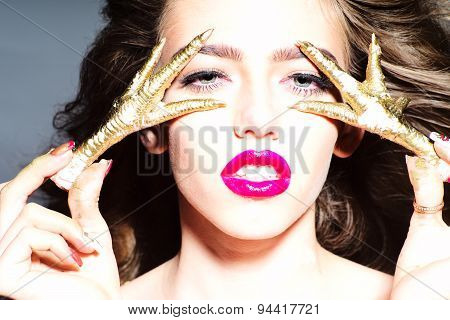 Lovely Undressed Woman With Gold Chicken Feet