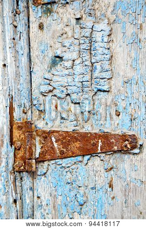 Paint In The Blue Wood Door And Morocco Knocker