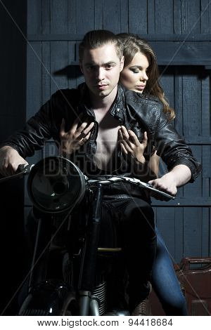 Cool Couple In On Motorcycle