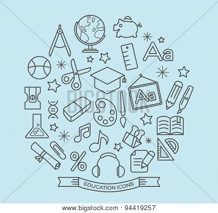 School And Education Line Icons With Outline Style