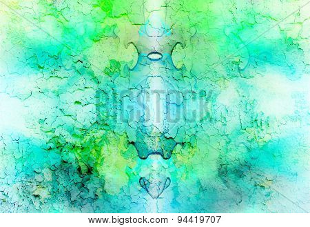 Abstract Background With Light Green And Blue Crackle Structure