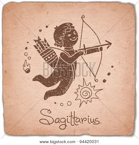 Sagittarius zodiac sign horoscope vintage card.