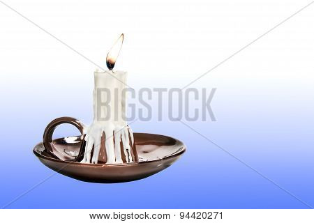 Candle In Candlestick Brown