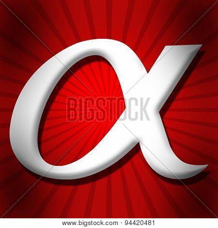 Alpha Symbol Over Red Black Burst
