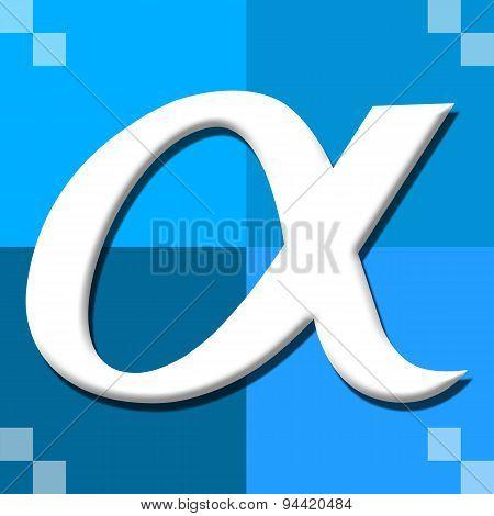 Alpha Symbol Blue Four Blocks
