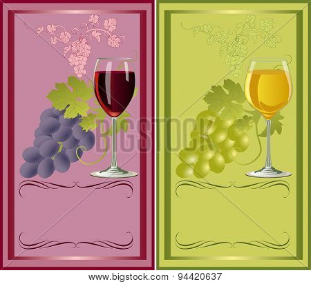 Vector Label For White And Red Wines.