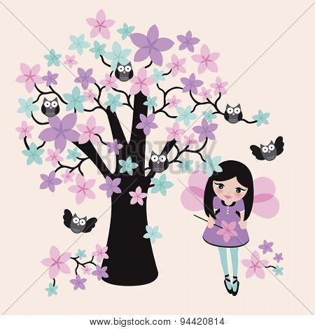 cute kids princess fairy girl magic owls tree illustration background postcard template in vector