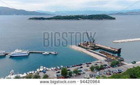 Aerial view to pier with ships from venetian new fortress Kerkyra