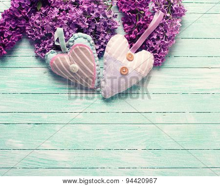 Background  With  Lilac Flowers And  Two Decorative Hearts