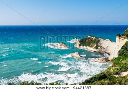 white rocks in the sea, Cape Drastis, Corfu